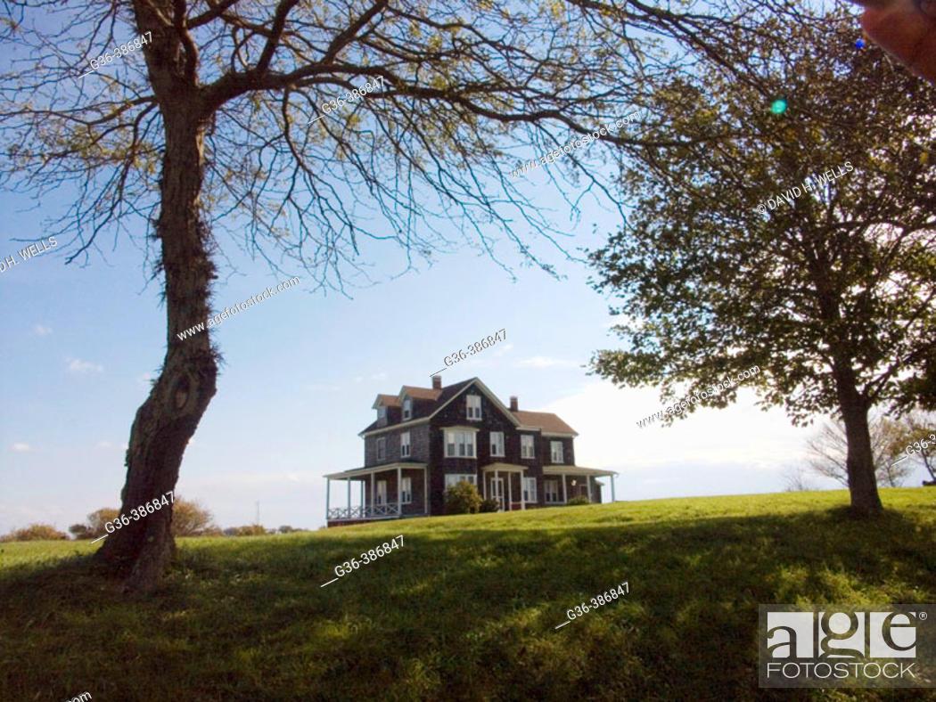 Stock Photo: New England house on Block Island, a coastal island that is part of Rhode Island.