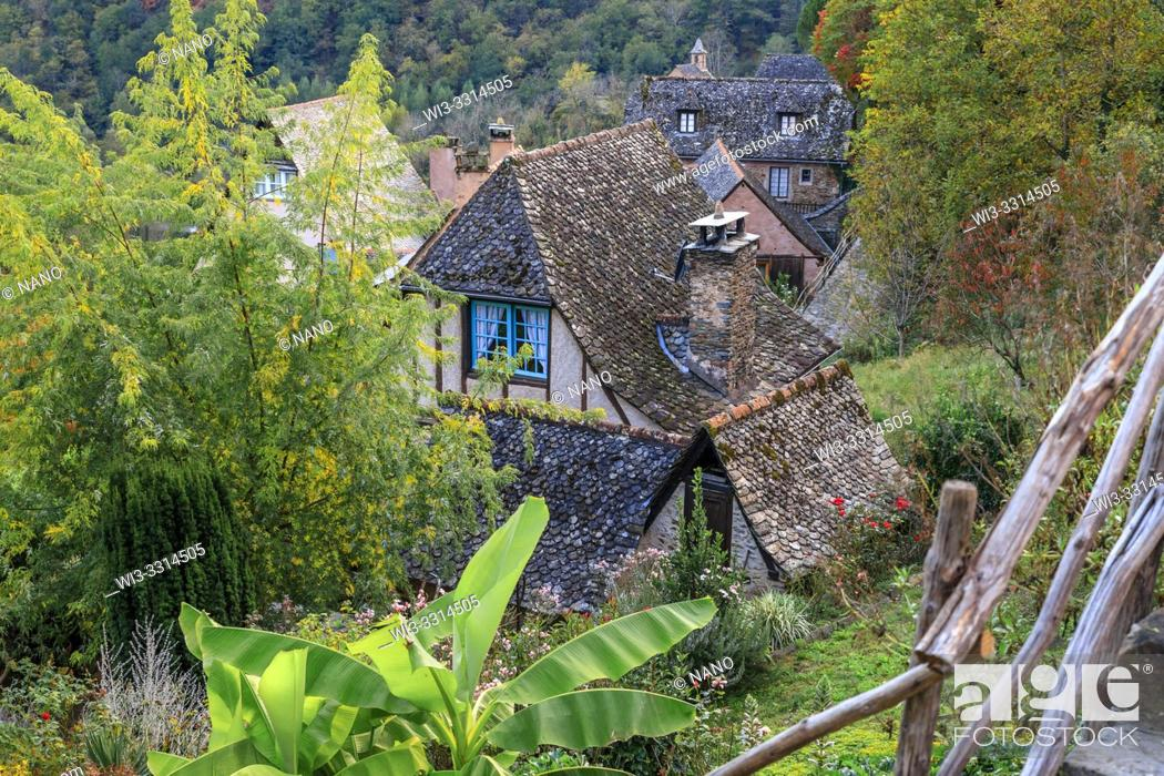Stock Photo: France, Aveyron, Conques, labelled Les Plus Beaux Villages de France (The Most Beautiful Villages of France), stop on El Camino de Santiago.