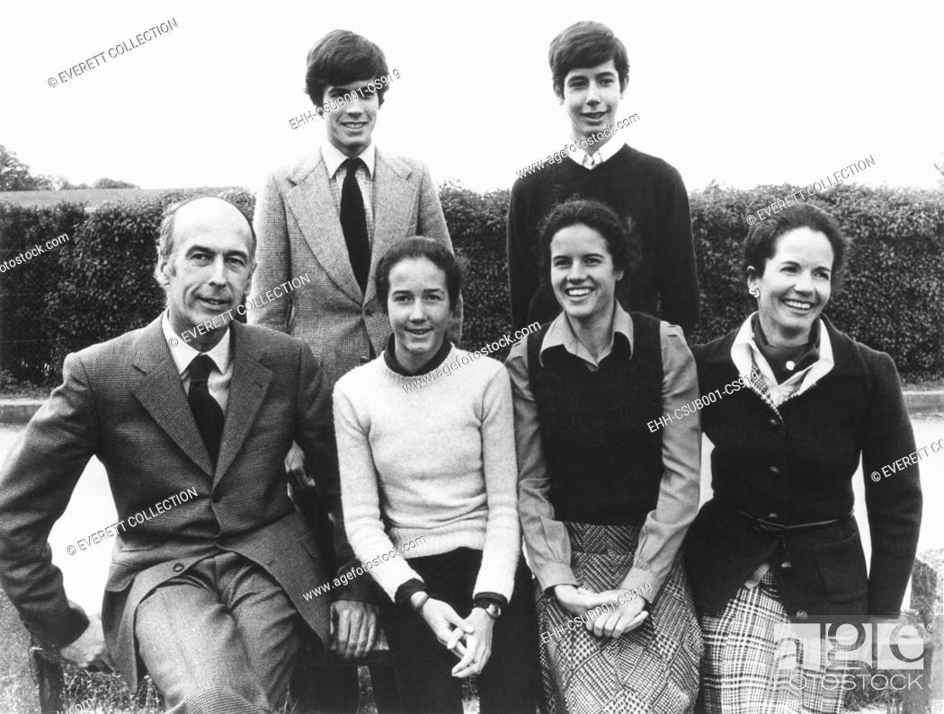 Stock Photo: Presidents Valery Giscard d'Estaing with his family. Seated L-R: Giscard, Jacinte, Valérie-Anne, Anne-Aymone Giscard d'Estaing. Standing: Henri, Louis.