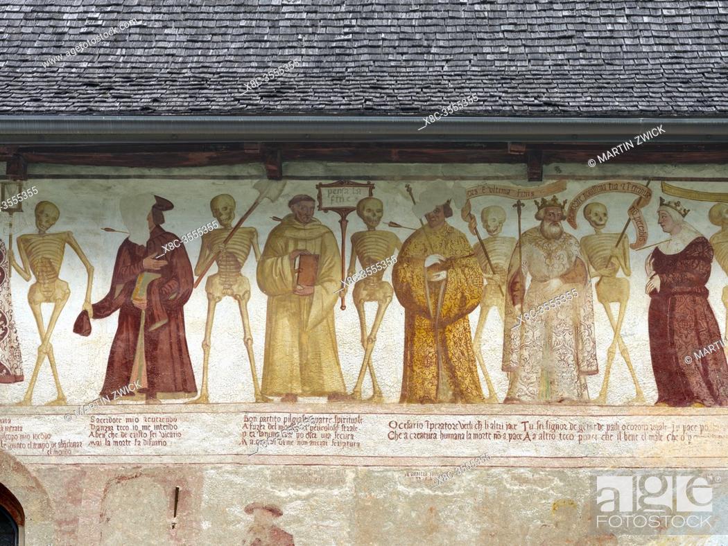 Stock Photo: Church San Vigilio and fresco Danza Macabra ( Danse Macabre or Dance of Death ) by Simone Baschenis dating back to 1539, Pinzolo, Val Rendena in Italy, Europe.
