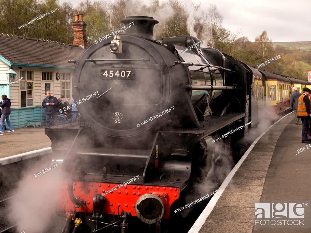 Stock Photo: vintage steam loco Lancashire Fuslier at Grosmont station,on The North Yorkshire Moors Railway,Yorkshire,UK.