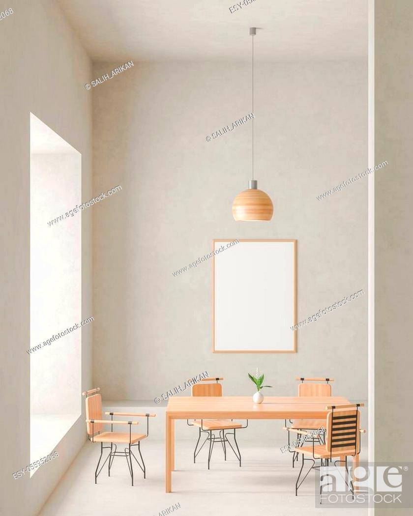Stock Photo: Mock up poster frame in modern, spacious dining room with concrete walls. Minimalist dining room design. 3D illustration.