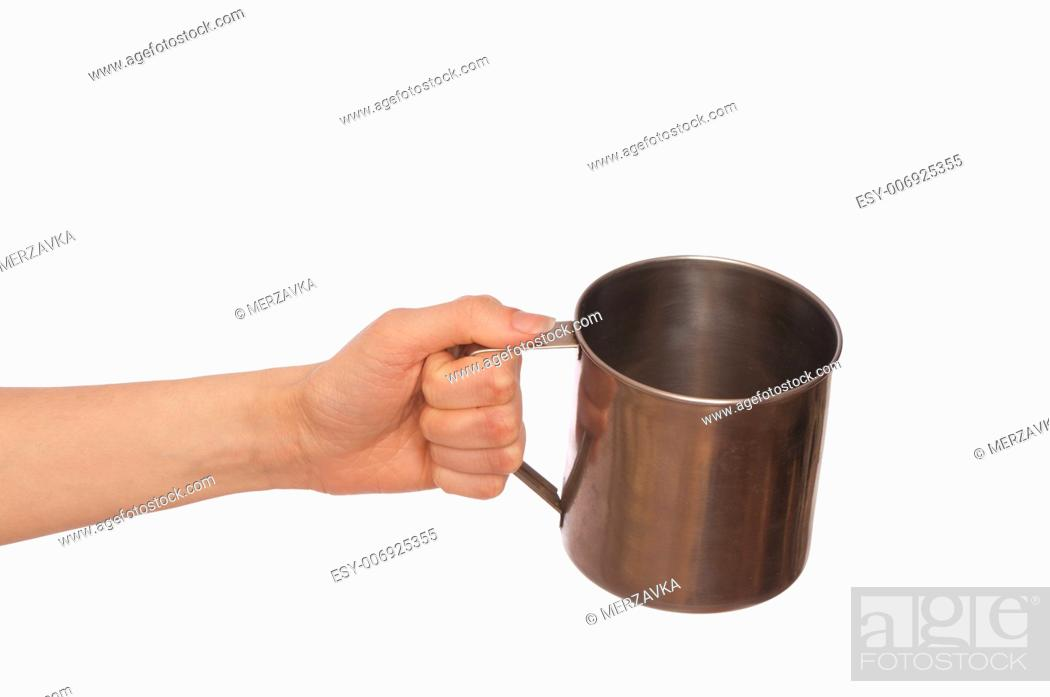 Stock Photo: beggar woman with a metal cup asking the money.