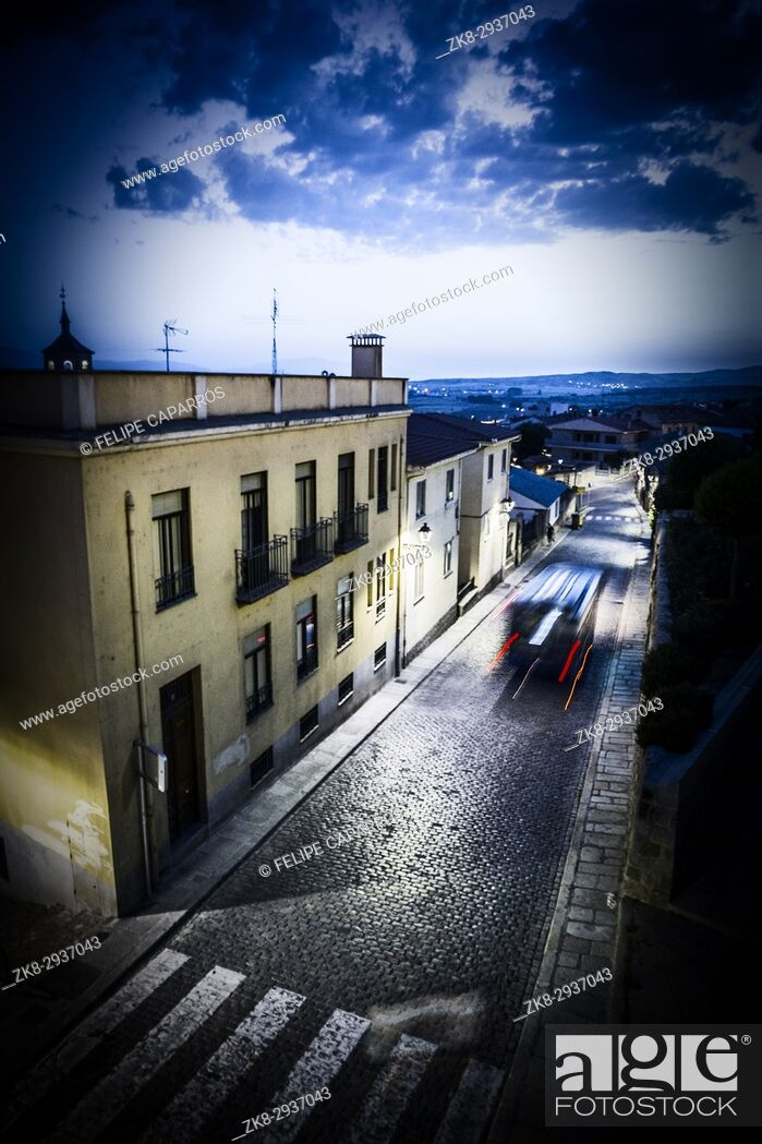 Stock Photo: Street View empty during the night, Avila, Spain.