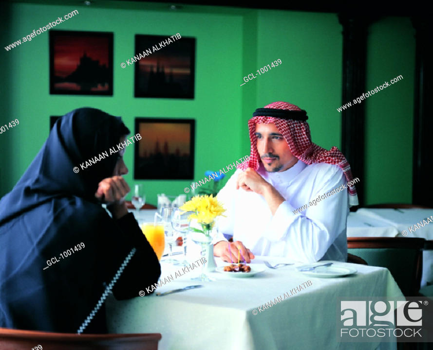 Stock Photo: Couple in a restaurant.