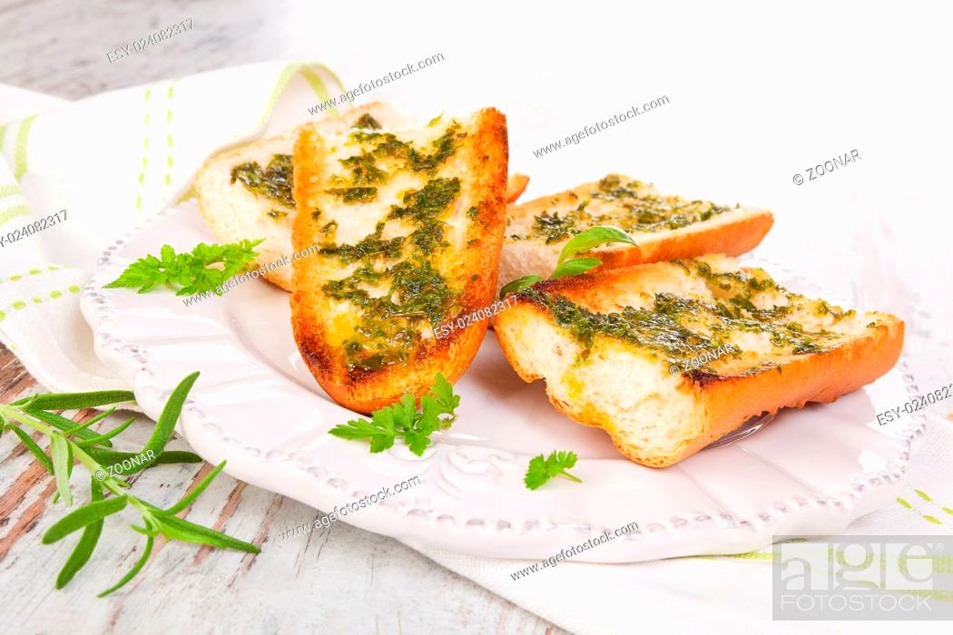 Garlic Baguette Vintage Styles Stock Photo Picture And Low