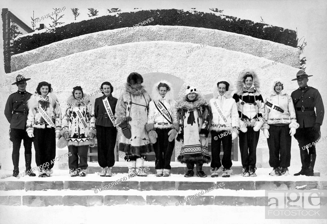 Stock Photo: Alaska: c. 1937.The contestants for the Miss Alaska competition.