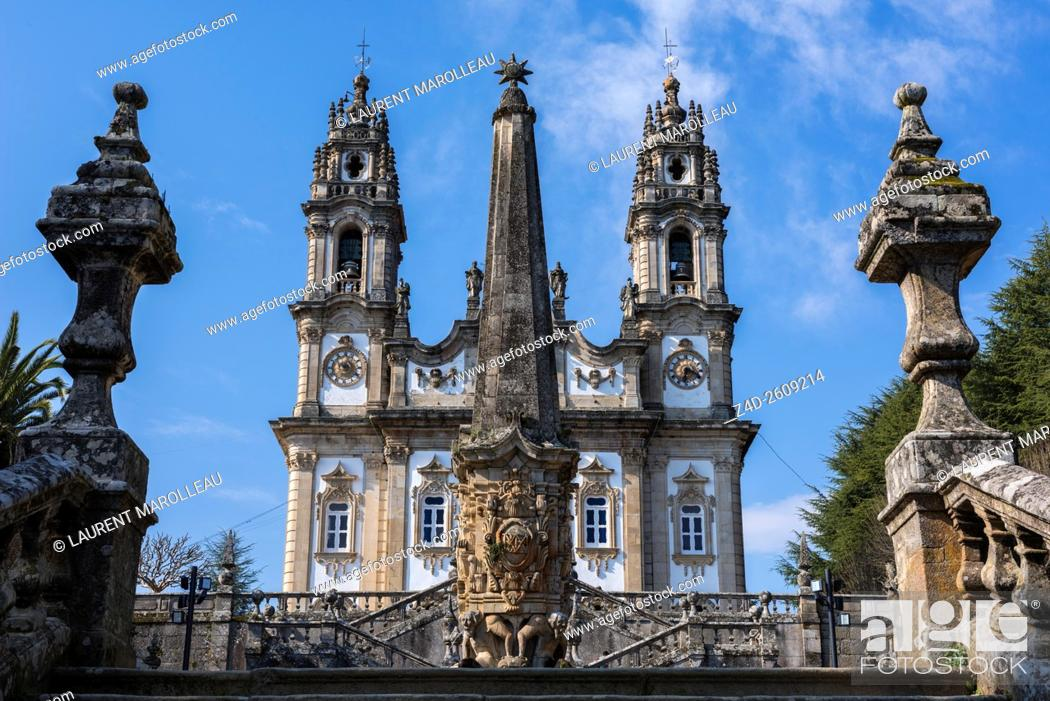 Stock Photo: Church of Our Lady of Remedies and Fountain of the Giants in the foreground, from the Stairway. Lamego, Viseu District, Norte Region, Portugal, Europe.