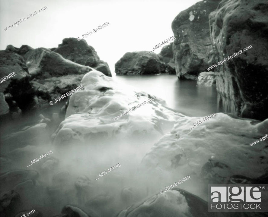 Stock Photo: Pinhole photograph of the coast of lake Superior in northern Minnesota. USA.