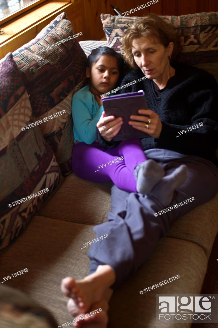 Stock Photo: Mother-Daughter-Kindle.