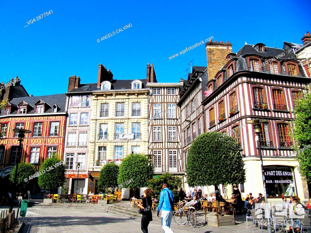 Stock Photo: Square and streets in the city of Rouen, Normandy. France.