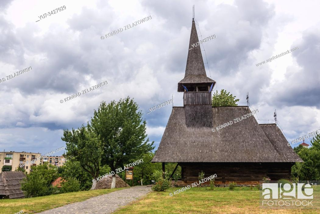 Stock Photo: 17th century wooden church from Lechinta village in Oas Village Museum located in Negresti-Oas town in the county of Satu Mare in Romania.