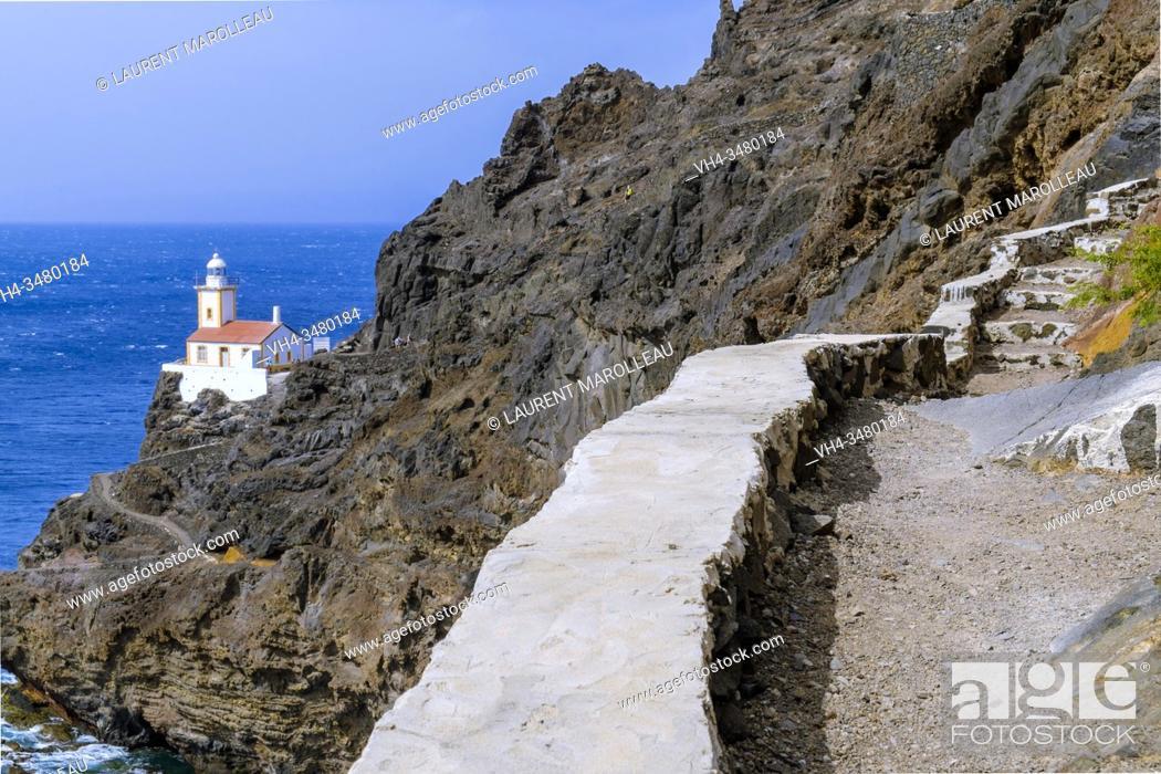 Stock Photo: The Ponta Machado Lighthouse (Farol de Dona Amélia) of Sao Pedro Village, Sao Vicente, Cape Verde Islands, Africa.