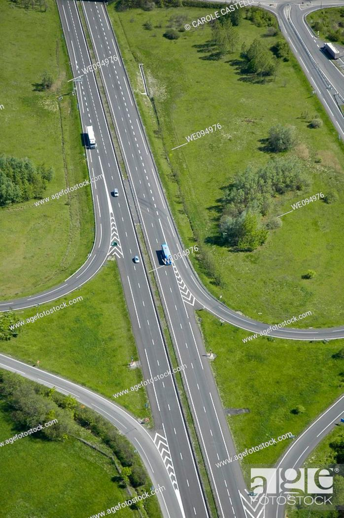 Stock Photo: Aerial view of a french highway  North of France.