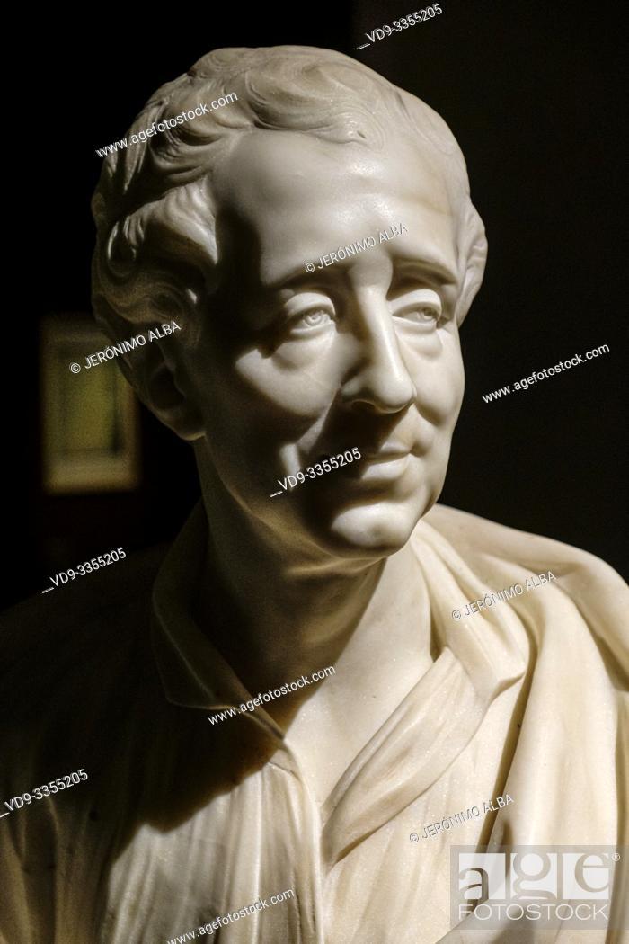 Stock Photo: Replica bust of Montesquieu 1689-1755. Musée d'Aquitaine, Aquitaine museum. Bordeaux, Gironde. Aquitaine region. France Europe.