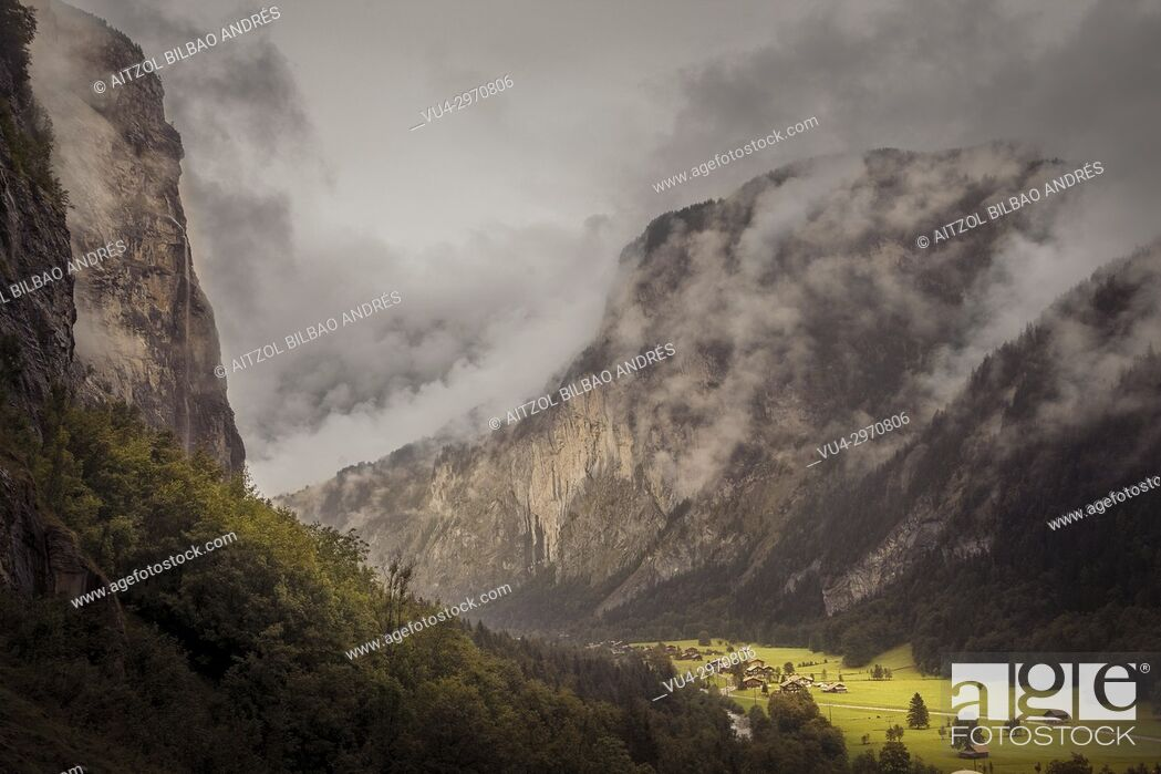 Stock Photo: The magic of the Lauterbrunnen valley, Switzerland. The clouds are so normal in this valley.