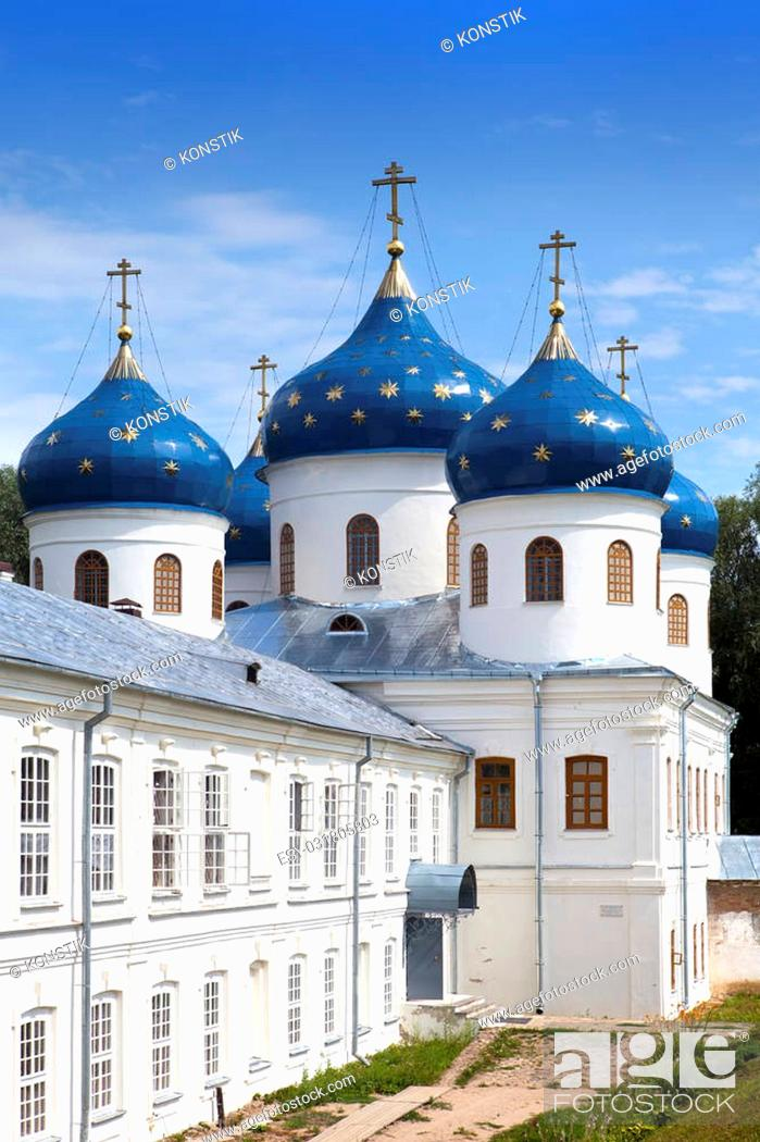 Stock Photo: Russian orthodox Yuriev Monastery, Church of Exaltation of the Cross, Great Novgorod, Russia.