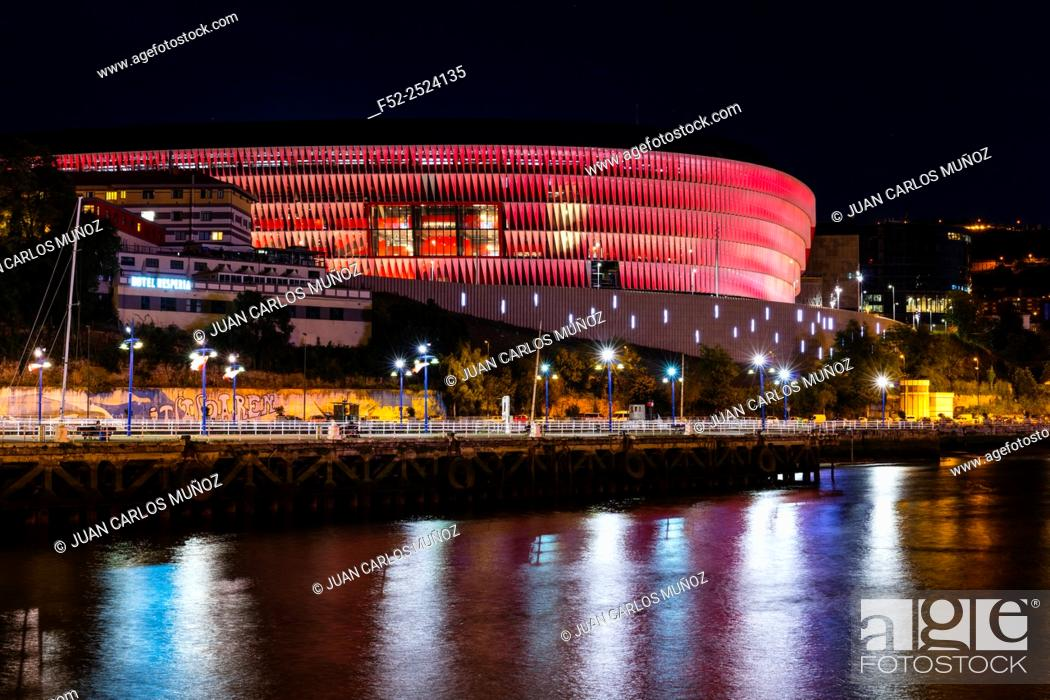 "Stock Photo: Spain, Basque Country, Bizkaia province, Bilbao, San Mames Stadium. This stadium replaced the """"old"""" San Mamés as home of Athletic Bilbao football club."