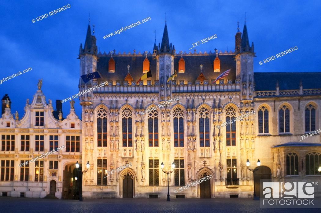 Stock Photo: Burg Square and the city or town hall, Stadhuis city hall, Stadsbestuur Bruge, in the sunset, Bruges, Belgium.
