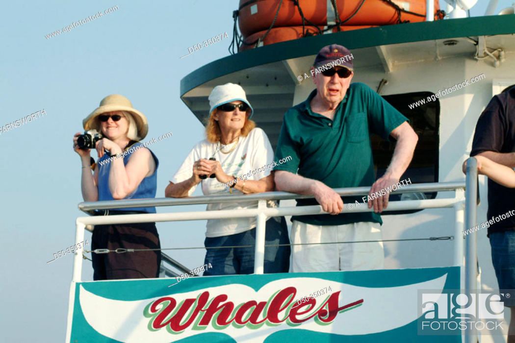 Stock Photo: Retirees on deck of whale watching boat. Cape May, New Jersey, USA.