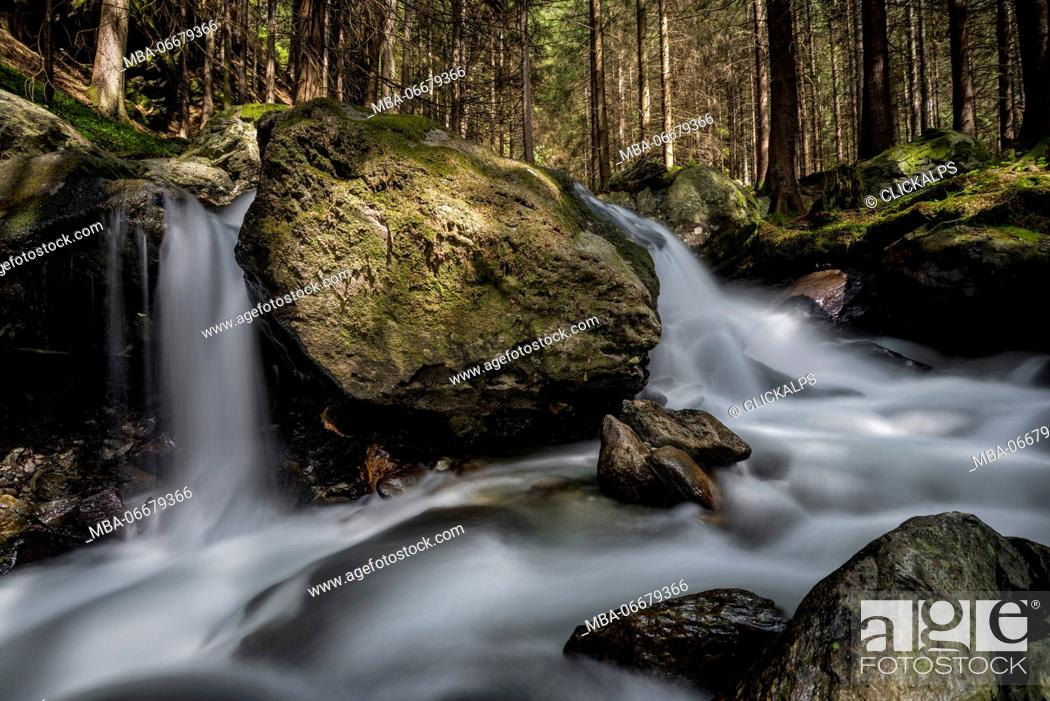 Stock Photo: Lutago/Luttach, Aurina Valley, South Tyrol, Italy. The Pojen creek in the Aurina Valley.