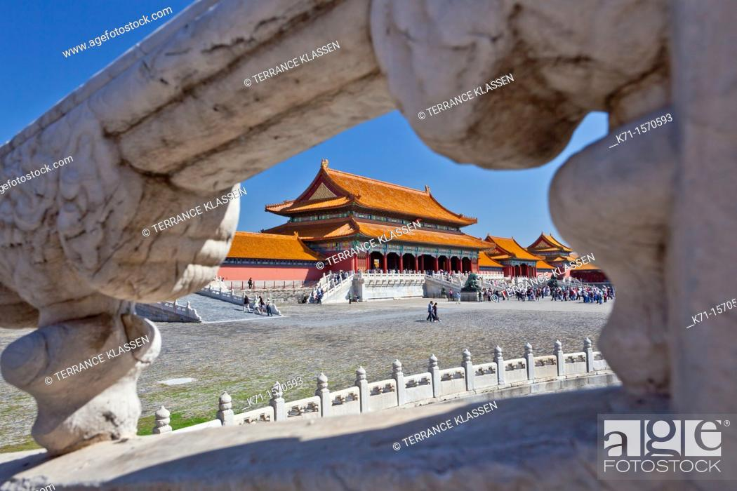 Stock Photo: The architecture of the Forbidden City through a window in Beijing, China, Asia.
