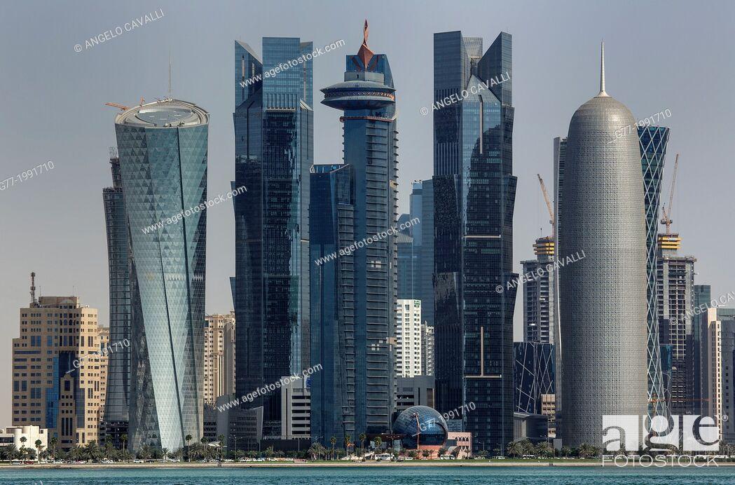 Stock Photo: Futuristic skyscrapers in Doha skyline, Qatar.