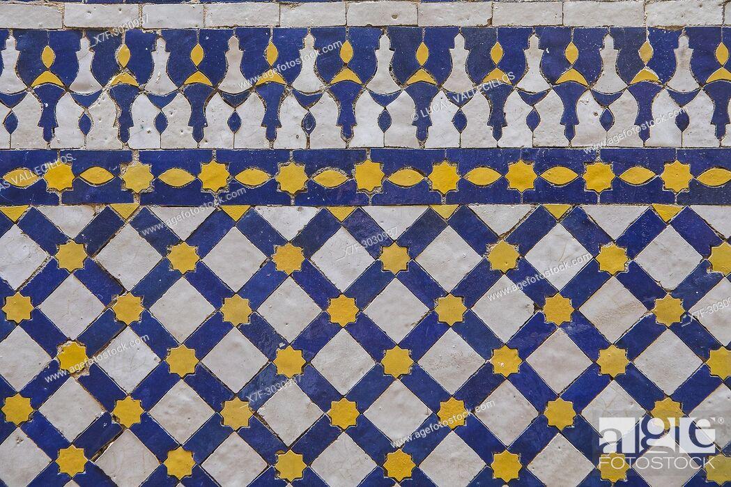 Stock Photo: Detail, tiled ornamentation, Courtyard of Zaouia (tomb) of Moulay Idriss II, medina, Fez. Morocco.