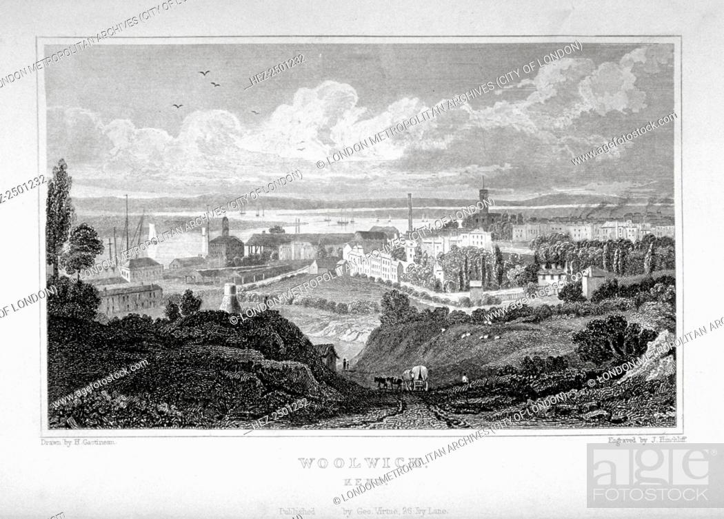 Stock Photo: View of Woolwich with the River Thames in the distance, c1830.