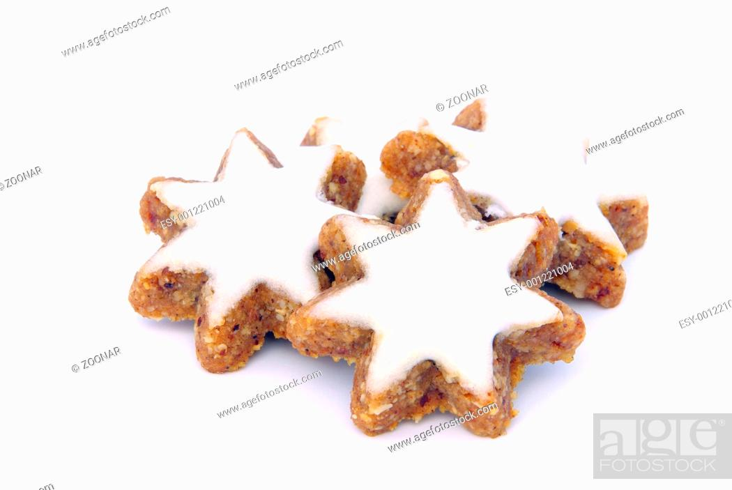 Stock Photo: star-shaped cinnamon biscuit.