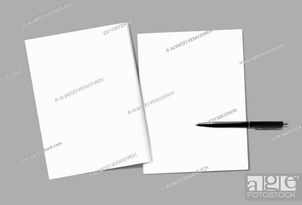 Stock Photo: Blank magazine covers and pen template on gray background. Back and front. Responsive design template. Blank mock-up for your design.