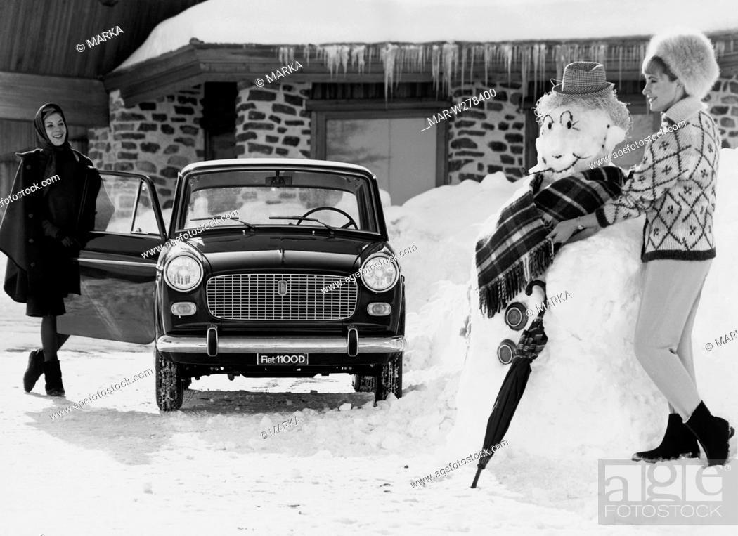 Stock Photo: sulla neve con la fiat 1100 d, 1963.