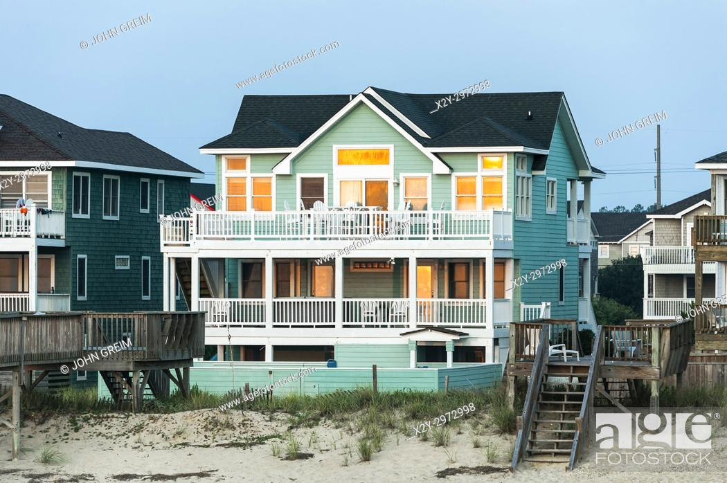 Stock Photo Waterfront Beach House Nags Head Obx Outer Banks North