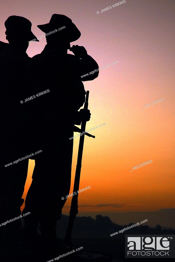 Stock Photo: The sun rises on the Virginia Memorial at Gettysburg National Battlefield.