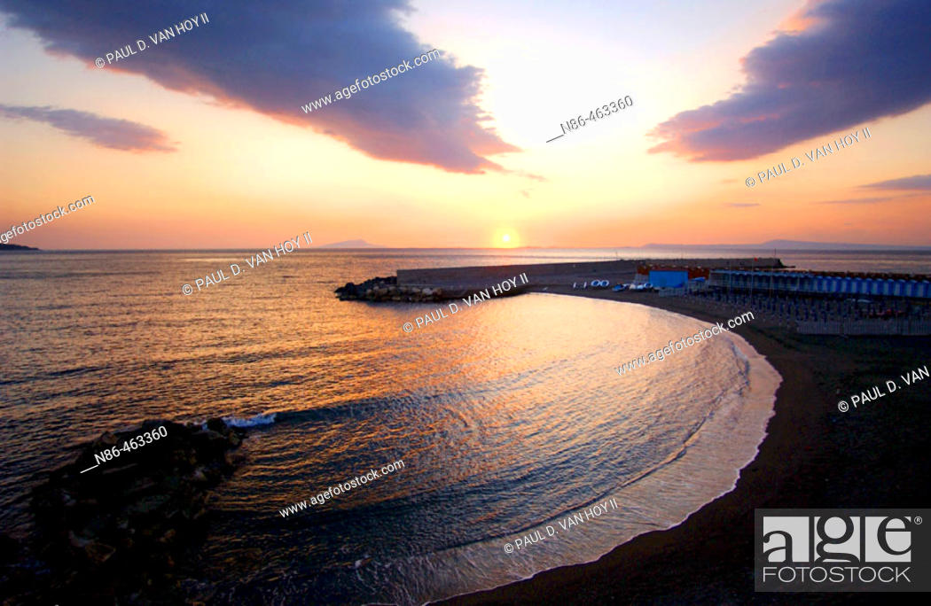 Stock Photo: Sunset at Sorrento. Campania, Italy.