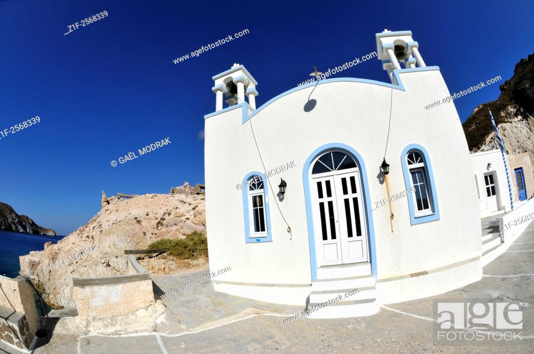 Stock Photo: Small church in Fyropotamos on the greek island of Milos in the Cyclades.