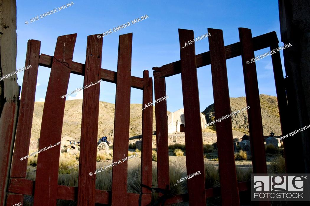 Stock Photo: Bolivia. Oruro department. Ancient colonial church in Lequepalca.