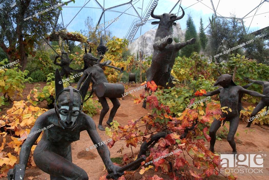 England, Cornwall, Bodelva, Sculptures representing pagan rituals