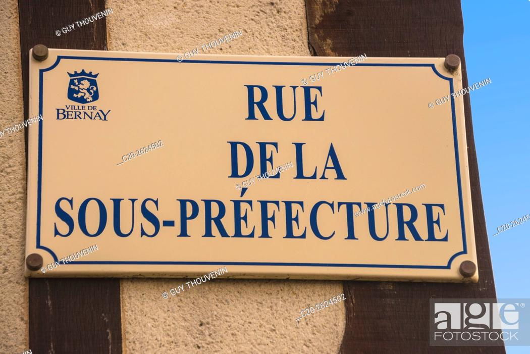 Stock Photo: Sreet plate, Bernay, 27, Normandy, France.