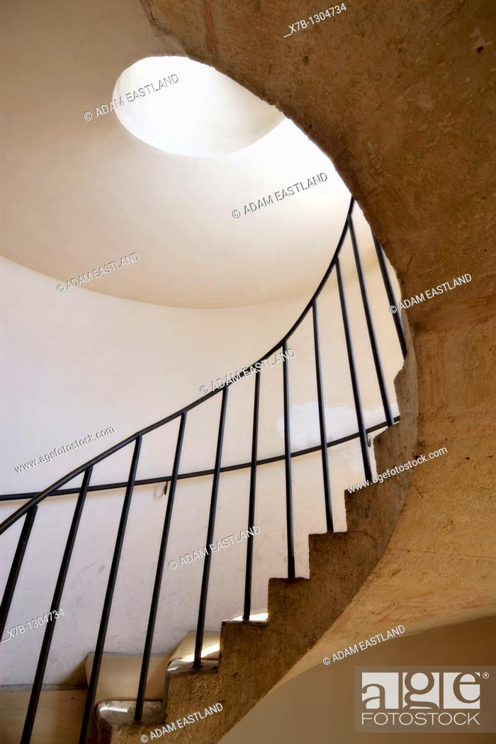 Stock Photo: Villa d'Este, Tivoli  Detail of spiral staircase.