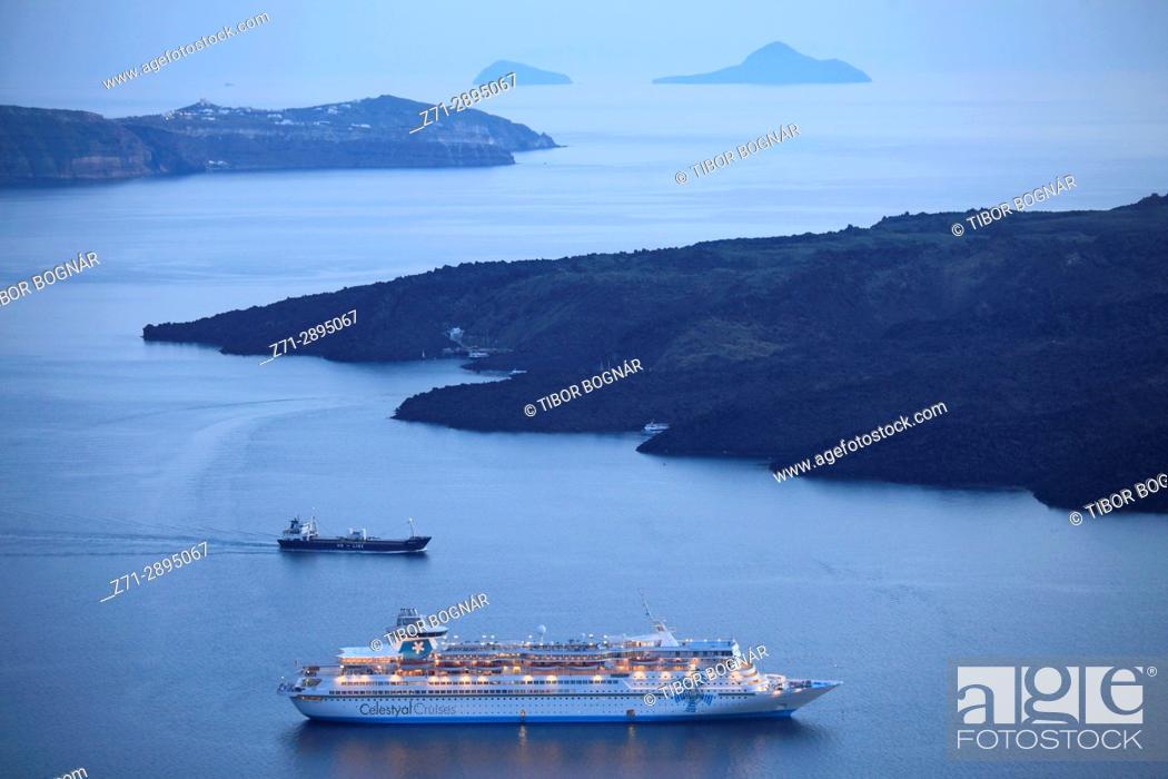 Stock Photo: Greece, Cyclades, Santorini, cruise ship, sunset, Nea Kameni island.
