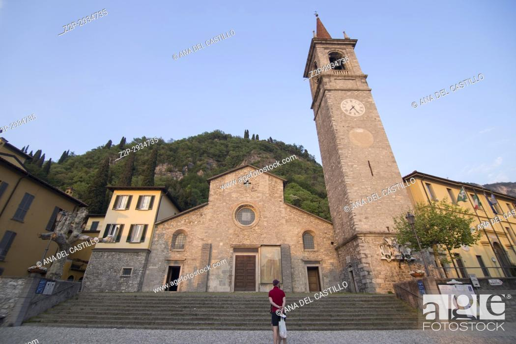 Stock Photo: Varenna village in Como lake Lombardy Italy St Giorgio church.