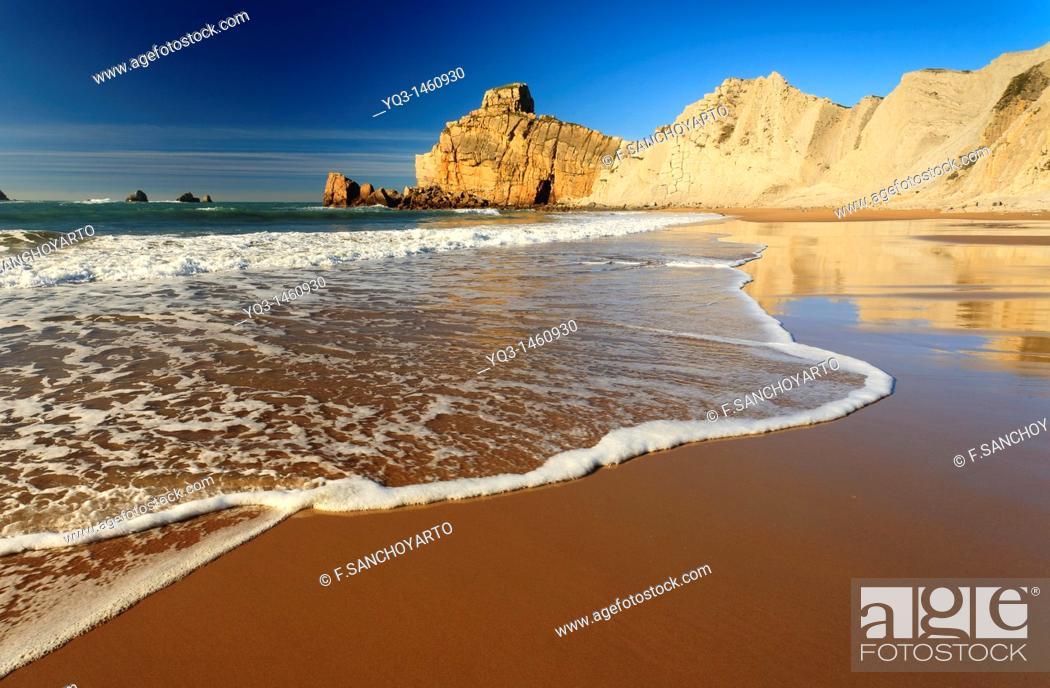 Stock Photo: Portio beach, Costa Quebrada, Piélagos, Cantabria, Spain.
