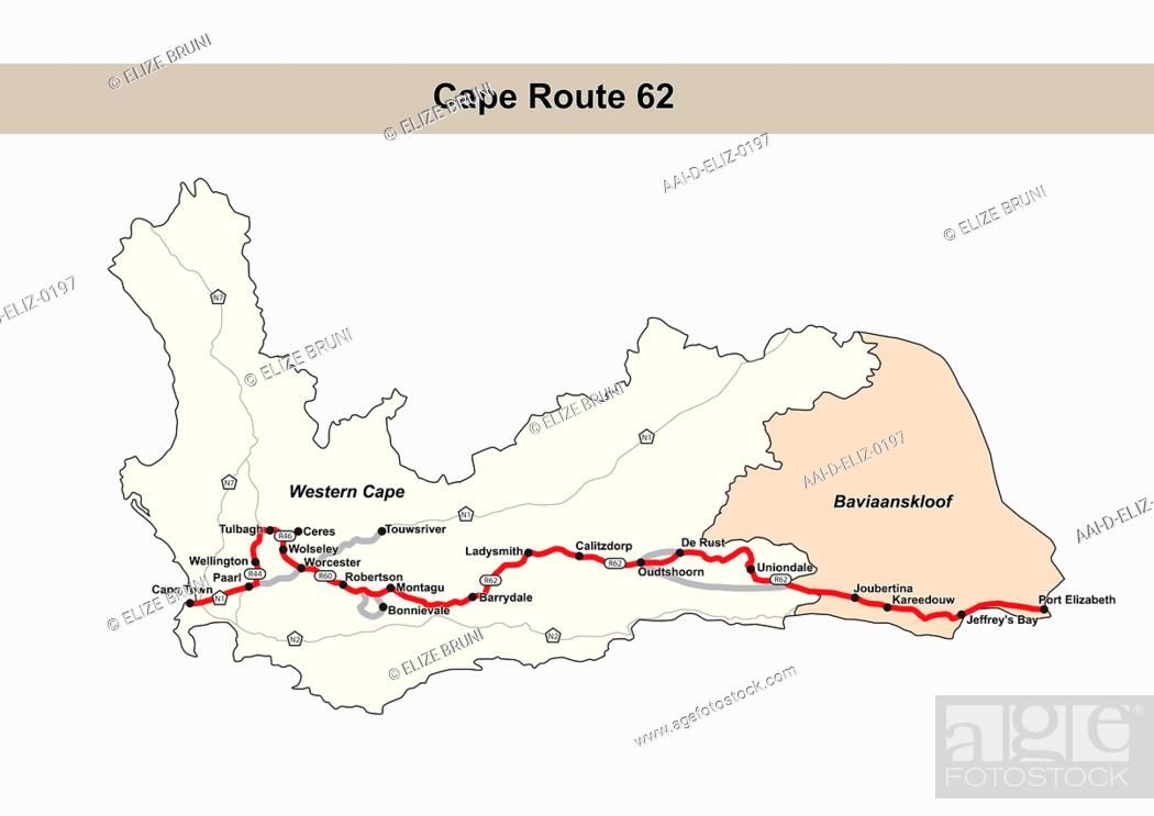 Map Of Route 62 South Africa.Cape Route 62 Map South Africa Stock Photo Picture And Rights