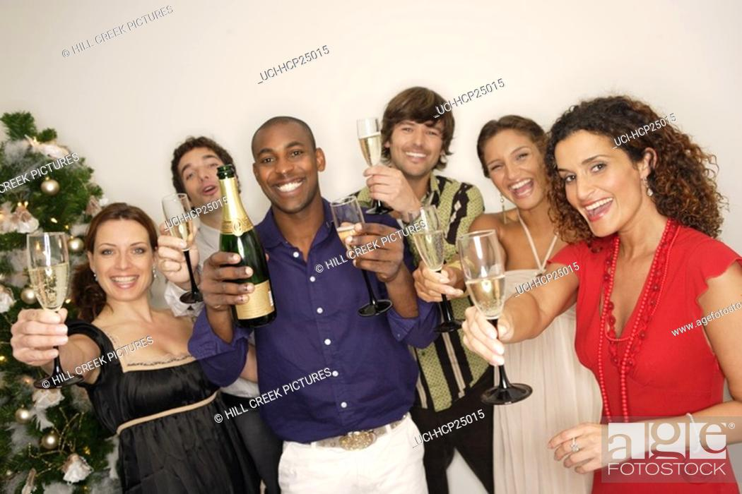 Stock Photo: Friends toasting each other with champagne.