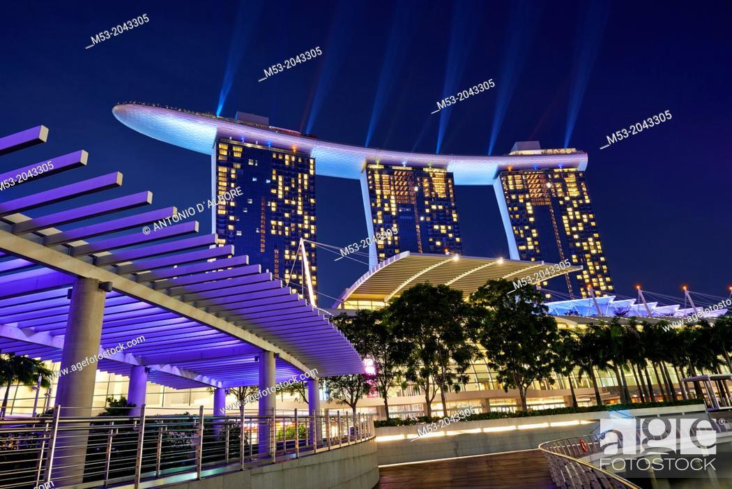 Stock Photo: Marina Bay Sands Hotel at night. Singapore.