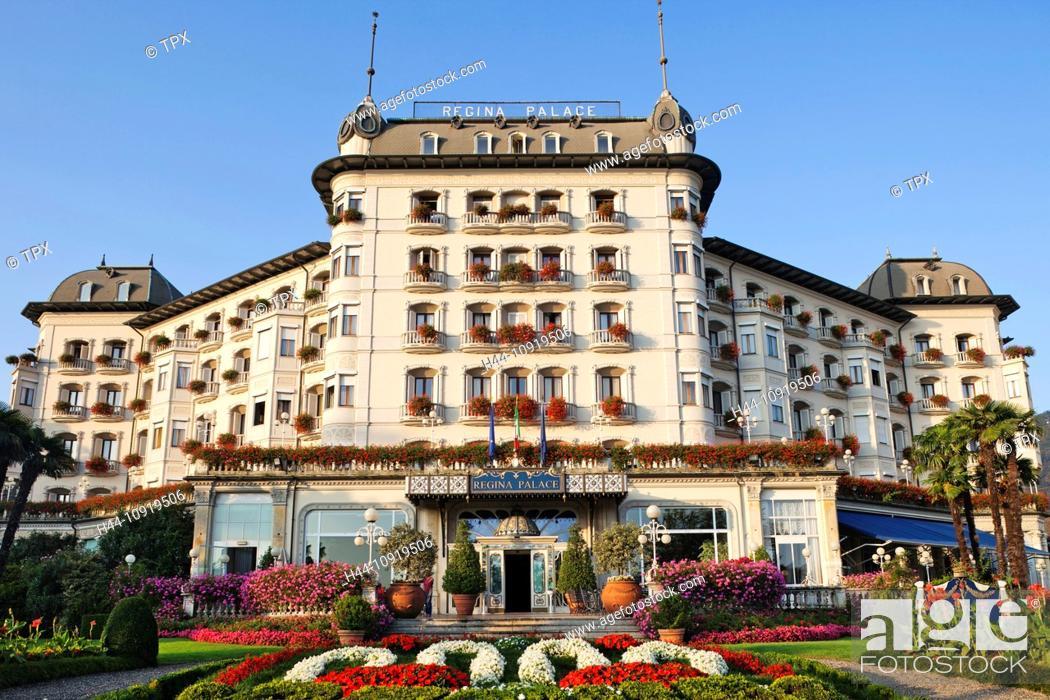 Stock Photo: Europe, Italy, Piedmont, Piemonte, Lake Maggiore, Lago Maggiore, Stresa, Regina Palace Hotel, Hotel, Hotels, Tourism, Travel, Holiday, Vacation.