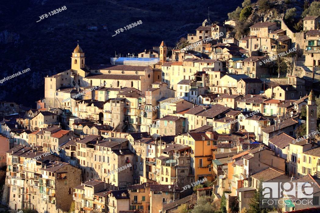 Stock Photo: The perched village of Saorge, Vallée de la Roya, Alpes-Maritimes, Provence-Alpes-Côte d'Azur, France.