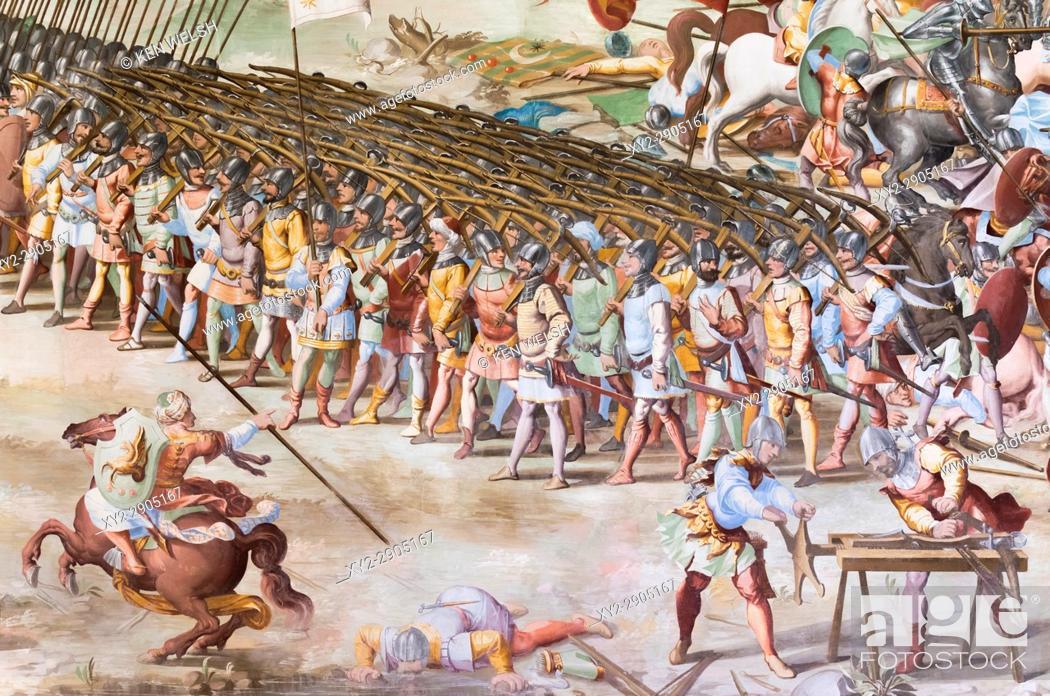 Imagen: San Lorenzo de El Escorial, Madrid Province, Spain. The monastery of El Escorial. Detail of fresco in the Hall of Battles of the 1431 Battle of La Higueruela.