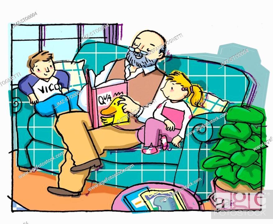 Stock Photo: A grandpa reads a book to his grandchildren.
